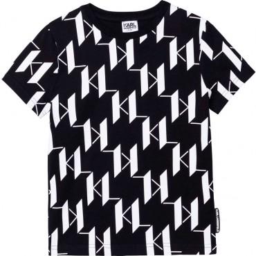 Czarna koszulka chłopięca Karl Lagerfeld 004642 - ekskluzywna odzież dziecięca i młodzieżowa - sklep internetowy euroyoung.pl