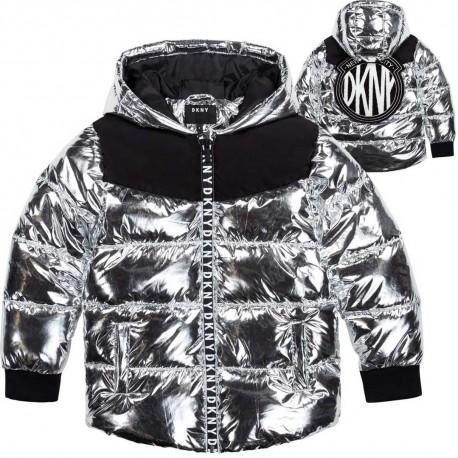 Srebrna kurtka dla dziewczynki DKNY 004644 - ekskluzywne kurtki dla dzieci i nastolatek - sklep internetowy euroyoung.pl