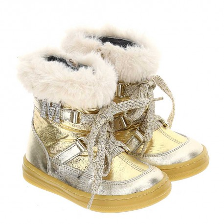 Złote śniegowce dla dziewczynki Monnalisa 004649 - ekskluzywne buty dla dzieci - sklep internetowy euroyoung.pl