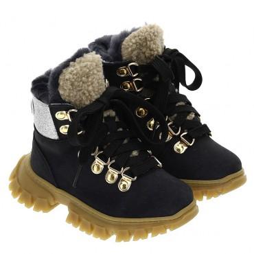 Masywne botki dla dziewczynki Monnalisa 004650 - ciepłe buty dla dzieci - sklep internetowy euroyoung.pl