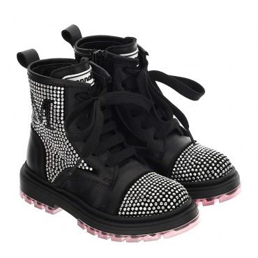 Ocieplone botki dla dziewczynki Monnalisa 004651 - biker boots dla dzieci - sklep internetowy euroyoung.pl