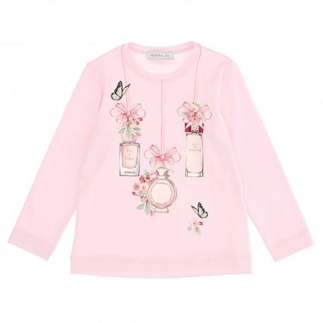 Różowa koszulka dla dziewczynki Monnalisa 004656 - ekskluzywne ubranka dla dzieci - sklep euroyoung.pl