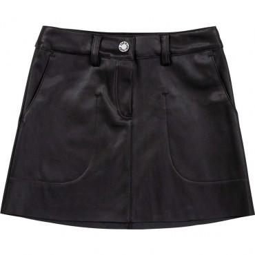 Czarna spódnica dziewczęca z ekoskóry Z&V 004662 - rockowe ubrania dla dzieci i młodzieży - sklep internetowy euroyoung.pl