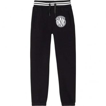 Czarne spodnie sportowe dla dziewczyny DKNY 004666 - ekskluzywna odzież dla dziewczynek i nastolatek - sklep online euroyoung.pl