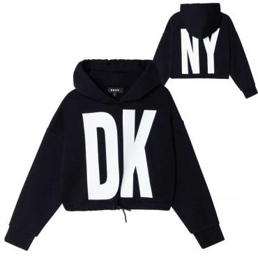 Czarna bluza z kapturem dla dziewczyny DKNY 004667 - ekskluzywne ubrania dziecięce i młodzieżowe - sklep internetowy euroyoung.p