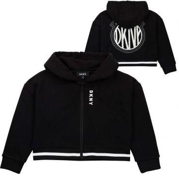 Czarna bluza dla dziewczynki Mini Me DKNY 004668 - ekskluzywne ubrania dla dzieci - sklep internetowy