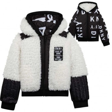 Dziewczęce futerko i kurtka w jednym DKNY 004669 - ekskluzywne ubrania dla dzieci i nastolatek - sklep internetowy euroyoung.pl