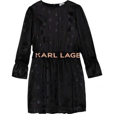 Czarna sukienka dziewczęca Karl Lagerfeld 004670 - ekskluzywne ubranka i obuwie dla dzieci i nastolatek - sklep internetowy euro