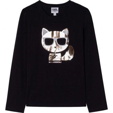 Czarna bluzka dziewczęca Karl Lagerfeld 004673 - ekskluzywne ubrania dziecięce i młodzieżowe - sklep online euroyoung.pl