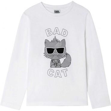 Biała koszulka dla dziecka Karl Lagerfeld 004678