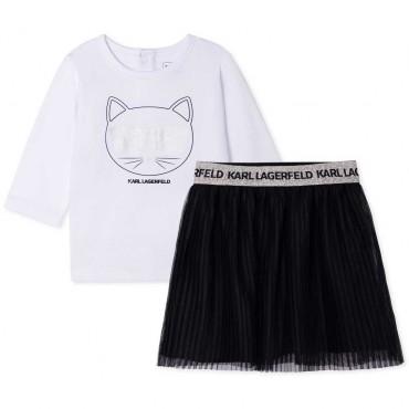 Komplet niemowlęcy dla dziewczynki Karl Lagerfeld 004680 - ekskluzywne ubranka dla niemowląt i małych dzieci - sklep internetowy