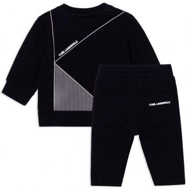 Czarny dres niemowlęcy Karl Lagerfeld 004682 - ekskluzywne ubranka dla niemowląt - sklep internetowy euroyoung.pl