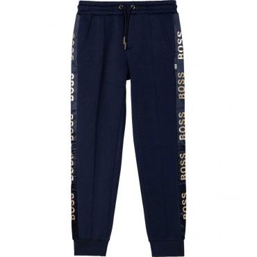 Granatowe spodnie dla dziewczynki Hugo Boss 004686 - ekskluzywne ubrania dla dzieci i nastolatek - sklep internetowy euroyoung.p