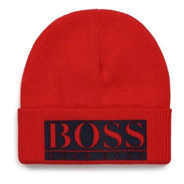 Czerwona czapka dla dziecka Hugo Boss 004688 - ekskluzywne ubrania dla chłopców - sklep internetowy euroyoung.pl