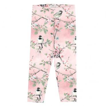 Wzorzyste, różowe legginsy dziewczęce w kwiaty Monnalisa 004692 - ekskluzywne ubrania dla dziewczynek - sklep internetowy euroyo