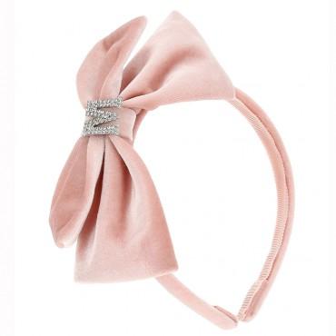 Dziewczęca opaska na włosy z różową kokardą 004694