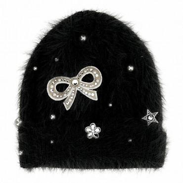 Czarna czapka dla dziewczynki Monnalisa 004695 - ekskluzywne czapki i kapelusze dla dzieci - sklep internetowy euroyoung.pl
