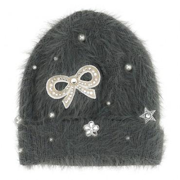 Szara czapka dla dziewczynki Monnalisa 004696