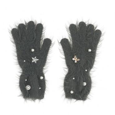 Szare rękawiczki dla dziewczynki Monnalisa 004697 - ekskluzywne akcesoria dla dzieci - sklep internetowy euroyoung.pl