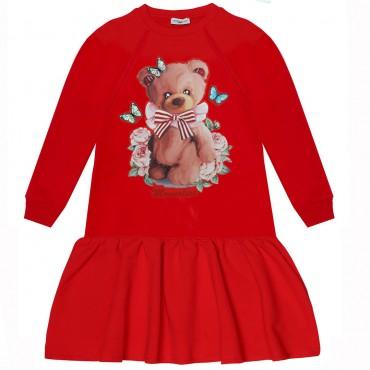 Czerwona sukienka dla dziewczynki Monnalisa 004701 - ekskluzywne sukienki dziewczęce - sklep z ubraniami dla dzieci i niemowląt