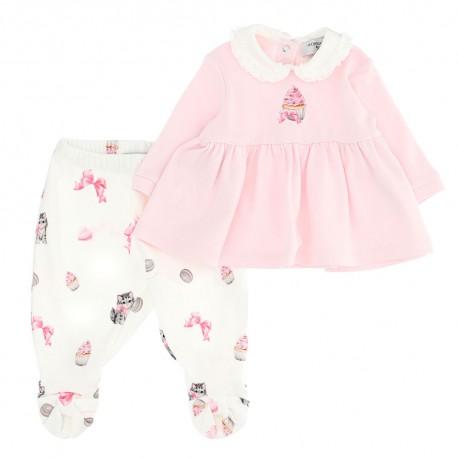 Komplet niemowlęcy: bluzeczka + półśpioszki 004702 - ekskluzywne ubranka dla niemowląt Monnalisa - sklep internetowy euroyoung.p