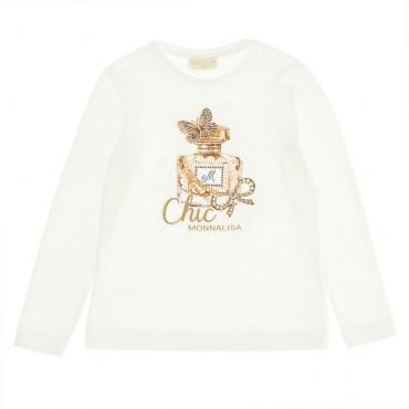 Bluzka dziewczęca z nadrukiem Monnalisa 004704 - ekskluzywne  ubrania dla dzieci i niemowląt - internetowy sklep euroyoung.pl