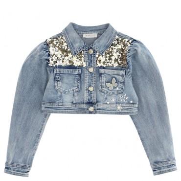 Kurtka jeansowa dla dziewczynki Monnalisa 004705 - ekskluzywne ubrania dla dzieci i niemowląt - sklep euroyoung.pl