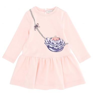 Różowa sukienka niemowlęca Monnalisa Bebe 004706 - ekskluzywne ubranka dla niemowląt i małych dzieci - sklep euroyoung.pl