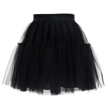 Czarna spódnica dla dziewczynki Monnalisa 004710 - ekskluzywne ubranka dla dzieci - sklep euroyoung.pl