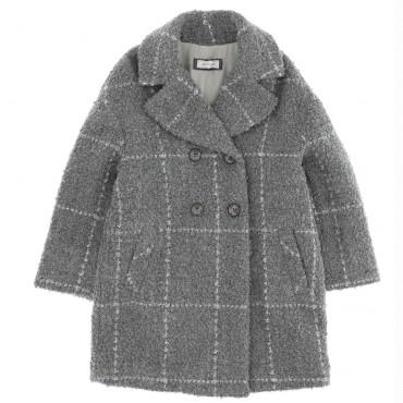 Szary płaszczyk dla dziewczynki Monnalisa 004714 - ekskluzywne płaszcze i kurtki dla dzieci - sklep internetowy euroyoung.pl