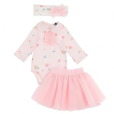 Komplet niemowlęcy: body, spódnica i opaska 004718 - ekskluzywne ubranka dla niemowląt - sklep internetowy euroyoung.pl