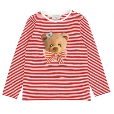 Dziewczęca koszulka w paski Monnalisa 004727 - ekskluzywne bluzki i koszulki dla dziewczynek - sklep internetowy euroyoung.pl