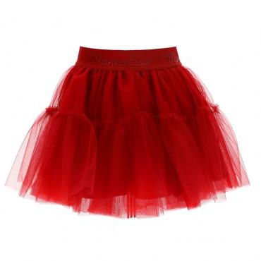 Czerwona spódnica dla dziewczynki Monnalisa 004729 - ekskluzywne spódnice tiulowe dla dzieci - sklep euroyoung.pl