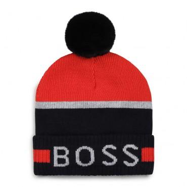 Zimowa czapka dla niemowlęcia Hugo Boss 004733 - ekskluzywne czapki chłopięce z pomponem - sklep internetowy euroyoung.pl
