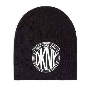 Czarna czapka dla dziewczynki DKNY 004738 - ekskluzywne czapki dla dzieci - sklep internetowy euroyoung.pl