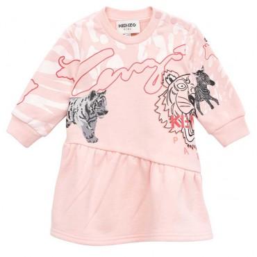 Różowa sukienka niemowlęca Kenzo 004743 - ekskluzywne sukieneczki dla małych dziewczynek - sklep internetowy euroyoung.pl