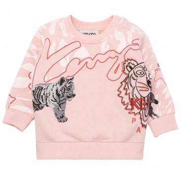 Różowa bluza niemowlęca z nadrukami Kenzo 004744 - modne ubranka dla niemowląt i malutkich dzieci