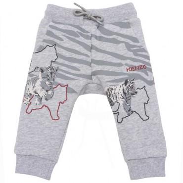 Szare spodnie niemowlęce z nadrukiem Kenzo 004748 - ekskluzywne ubrania dla niemowląt - sklep internetowy euroyoung.pl