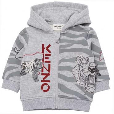 Szara bluza niemowlęca z nadrukiem Kenzo 004749 - ekskluzywne ubranka dla niemowląt i małych dzieci - sklep internetowy euroyoun