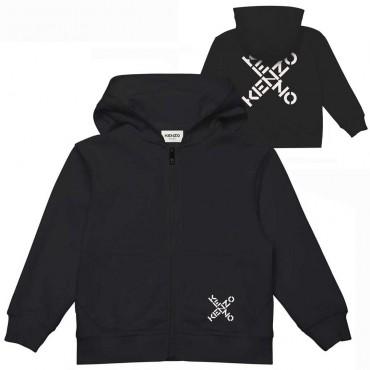 Czarna bluza z kapturem dla dziecka Kenzo 004751 - ekskluzywne bluzy chłopięce - sklep internetowy euroyoung.pl