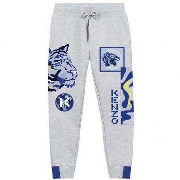 Szare spodnie dresowe dla chłopca Kenzo 004756 - ekskluzywne ubrania dla dzieci i nastolatków - sklep internetowy euroyoung.pl
