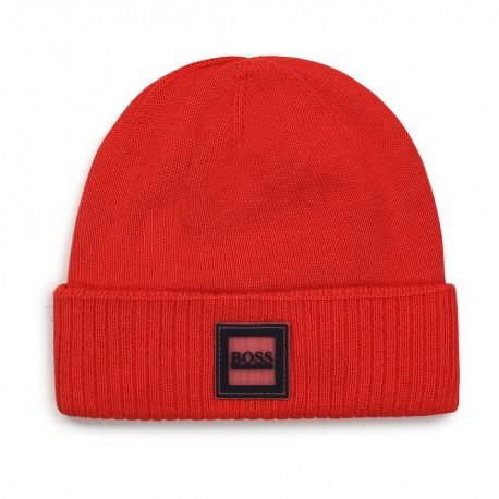Czerwona czapka dla noworodka Hugo Boss 004766 - czapeczki niemowlęce na zimę - sklep internetowy euroyoung.pl