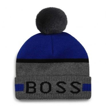 Szara czapka dla noworodka Hugo Boss 004767 - markowe czapki dla niemowląt - sklep internetowy euroyoung.pl