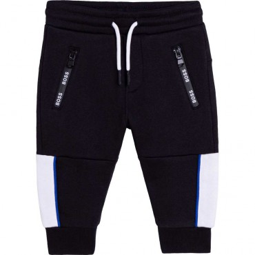 Czarne spodnie dla niemowlęcia Hugo Boss 004769 - ekskluzywne ubrania dla chłopców - sklep internetowy dla dzieci euroyoung.pl
