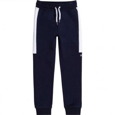 Granatowe spodnie dla chłopca Hugo Boss 004777 - ekskluzywne ubrania dla dzieci i młodzieży - internetowy sklep odzieżowy euroyo