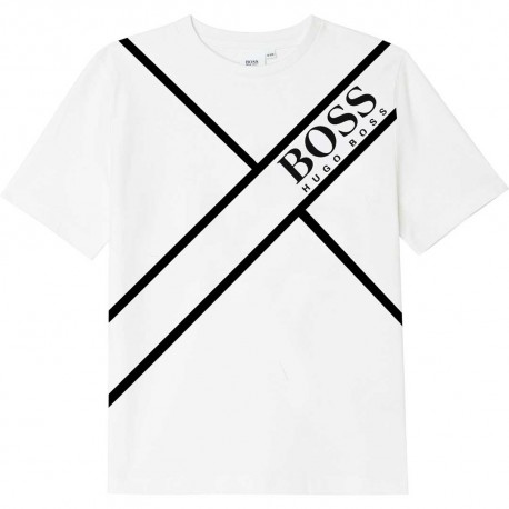 Koszulki chłopięce z nadrukiem Hugo Boss 004780 - ekskluzywne ubrania dla dzieci - sklep internetowy euroyoung.pl