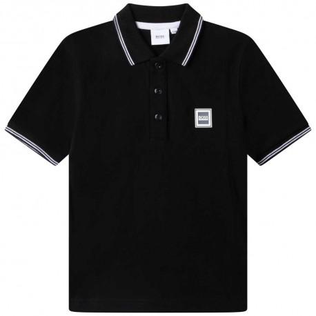 Czarne polo dla chłopca Hugo Boss 004781 - ekskluzywne ubrania dla dzieci i nastolatków - internetowy sklep odzieżowy euroyoung.