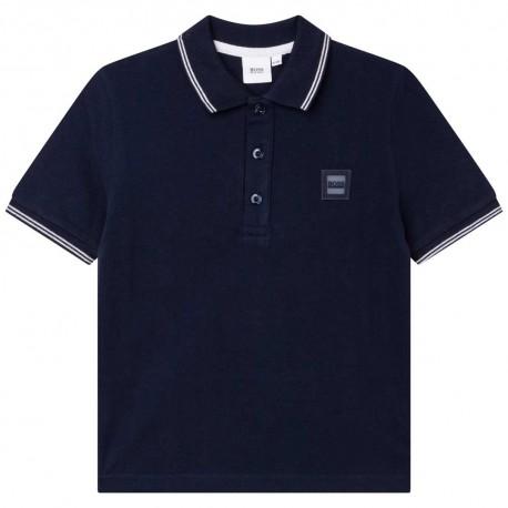 Granatowe polo dla chłopców Hugo Boss 004782 - ekskluzywna odzież dla dzieci - internetowy sklep euroyoung.pl
