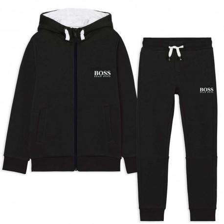 Czarny dres chłopięcy Hugo Boss 004787 - sportowa odzież dla dzieci i młodzieży - sklep online euroyoung.pl