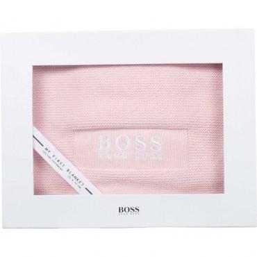 Różowy kocyk niemowlęcy dla dziewczynki Hugo Boss 004788 - ekskluzywne akcesoria dla niemowląt - sklep internetowy euroyoung.pl
